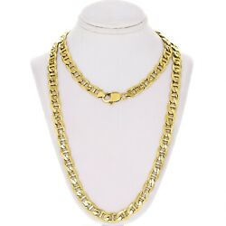 14k Yellow Gold Solid Anchor Mariner Link Chain Necklace 28 7.7mm 73.5 Grams