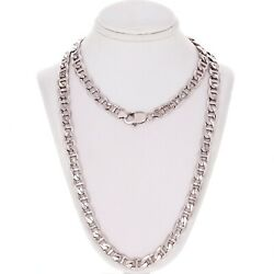 14k White Gold Solid Anchor Mariner Link Chain Necklace 28 7.7mm 73.5 Grams
