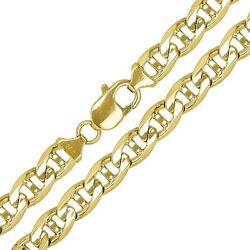 10k Yellow Gold Solid Anchor Mariner Link Chain Necklace 26 7.7mm 60.7 Grams