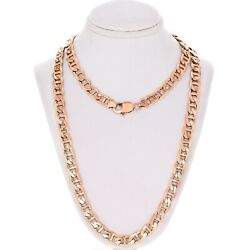 10k Rose Gold Solid Anchor Mariner Link Chain Necklace 26 7.7mm 60.7 Grams