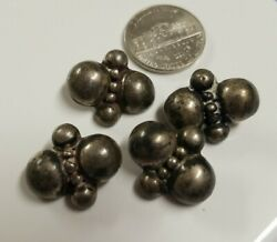 Vintage Antique 4 Sterling Silver Mexico Taxco Metal Buttons Navajo Figural