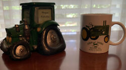 Green Tractor 4 Picture Frame And Bank And John Deere Mug.
