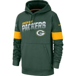 New Nfl Green Bay Packers Nike Sideline Logo Performance Dri-fit Pullover Hoodie
