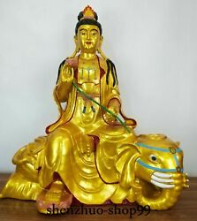 80cm Huge China Pure Bronze Gilt Painting Puxian Guanyin Ride Elephant Statue