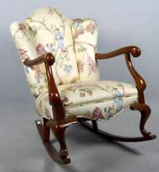 Mahogany Rocking Chair Upholstered In High End Chinoiserie Toile Fabric