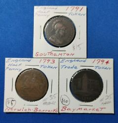 Lot Of Three 3 Different 1791 To 1794 England Half Penny Tokens