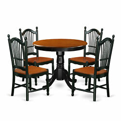 East West Furniture Antique Wood 5-piece Dining Set In Black Finish Ando5-bch-w