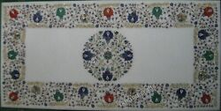 24 X 48 Inches Marble Coffee Table Top Mosaic Art Patio Table With Antique Work