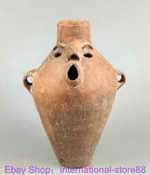 13.6 Collection Old Chinese Dadiwan Qijia Culture Pottery People Bottle Pot