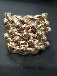 9ct Yellow Gold Solid Mens 4 Row Huge Keeper Ring Size Y-z