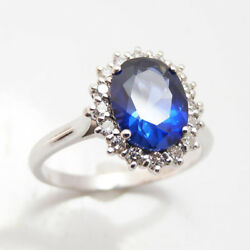 Blue Sapphire 3.48 Ct Gemstone Diamond Natural 14k Solid White Gold Ring Size 5