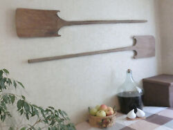 Pair 55/ 57 Oversized Antique Bakery Dough Bread Wooden Board Pizza Peel Paddle