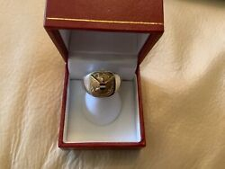 Men's 10k United Airlines Diamond Pin On Sterling Silver Signet Ring