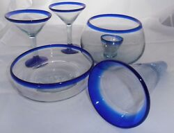 Lot Of Mexican Hand-blown Glass Cobalt Blue Rim Vase Martini Glasses Bowl Candle
