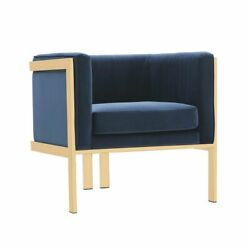 Manhattan Comfort Accent Armchair In Royal Blue And Polished Brass Ac053-bl
