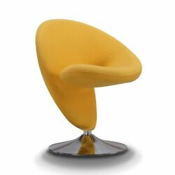 Manhattan Comfort Swivel Accent Chair In Yellow And Polished Chrome Ac040-yl