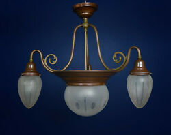 Antique Arts And Crafts Danish Copper And Cut Glass Pendant Lamp - Was Benson Style