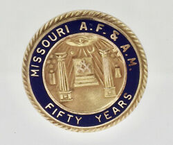 Vintage 10k Yellow Gold Enamel Missouri Af And Am Masonic Fifty Year Lapel Pin