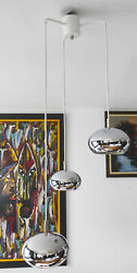Vintage 1960s Cascade Space Age Chandelier With 3 Oval Chrome Globes