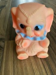 Pink Baby Rubber Elephant Squeaker Toy, Made In Germany, Vintage
