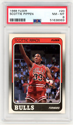 1988-89 Fleer 20 Scottie Pippen / Rc - Rookie Card / Hall Of Fame / Nm-mt Psa 8