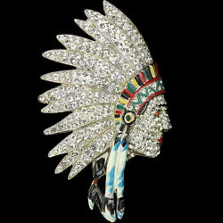 Coro Pave And Enamel Large American Indian Chief's Head Pin