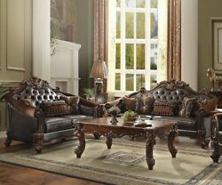 Acme Vendome Ii Loveseat With 3 Pillows In Dark Brown And Cherry Finish 53131