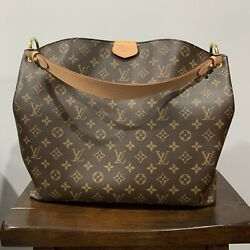 Louis Vuitton Graceful MM Brown Monogram Canvas Tote Hobo with Organizer $1495.00