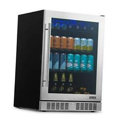 """24"""" Beverage Refrigerator And Cooler With Seamless Stainless Steel Glass"""