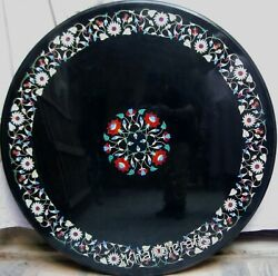 Beautiful Flowers Inlay Art Dining Table Top Hand Made Outdoor Table 42 Inches