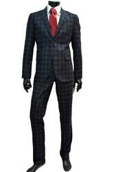 Alessandro Gilles Menand039s Suit Slim Fit Blue Check A222 2089