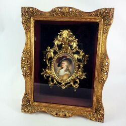 Antique Shadow Box With Gold Rococo Frame And Porcelain Plaque Personalized 1904