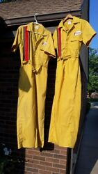 Vintage 1970and039s Mustard Pp Johnson Outboard Motors Work Coveralls Jumpsuit Speed