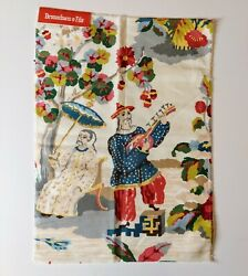 Brunschwig And Fils Xian Linen And Cotton Print Prussian Red Fabric-new With Tags