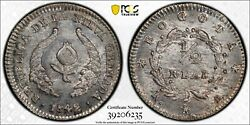 1842 Colombia 1/2 Real Pcgs Ms65 Top Pop 1/0 Silver Registry Coin Km 96.1 Rs Tv