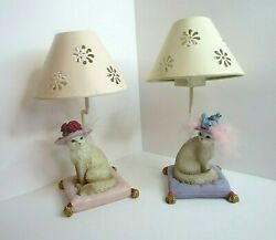 Lot Of 2 Fancy Cats Tea Light Lamp Candle Holders. Hats Feathers Roses And Bird