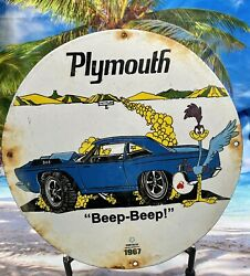 1967 Vintage And039and039chrysler Plymouthand039and039 Gas Pump Plate Porcelain 12and039and039 Beep Heavy