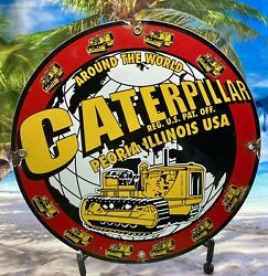 Vintage Style Caterpillarand039and039 Heavy Equip. Gas And Oil Plate Porcelain Sign 12 In