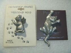 2 Vintage Cat Pins On Cards Pin Art Spoontiques And Heavenly Angel Precious Pets
