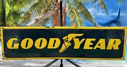 Vintage Goodyear Porcelain Sign Gas Oil 18andrdquo Service Tires Pump Plate