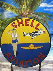 1942 Vintage Shell Aviation Shell Gasoline Heavy Porcelain Sign Gas And Oil Sign