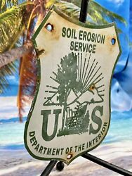 Us Forest Soil Erosion Service 8andrdquo Plate Hunting Fishing Porcelain Metal Sign