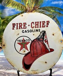 Vintage Texaco Fire Chief Gasoline Porcelain Gas Motor Oil Sign Indian