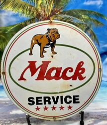 Vintage And039and039mack Truckand039and039 12 Gas And Oil Pump Plate Porcelain