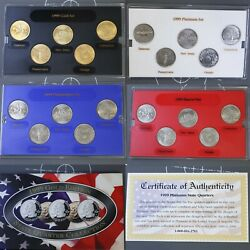 1999 State Quarters Collection Us Coin 25c Cents - 4pc Set P D Gold And Platinum