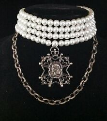 Vintage Necklace Queen Victoria Pendant Wide Pearl Choker Vintage Jewelry