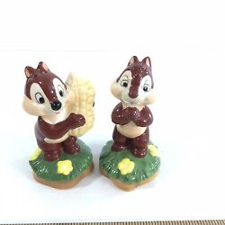 Disney Classic Chip And Dale Salt And Pepper Shakers Ceramic Figurine Set Used