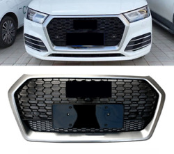 For Audi Q5 Sq5 Style 18-2021 Rs Sliver Front Grille Upper Honeycomb Mesh Grill