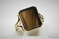 Vintage Soviet Union Agate Ring Russia 8k Gold Over Silver Mens Size 11.25 17797