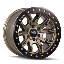 17 Inch 8x170 Wheels 4 Rims Satin Gold W/simulated Ring -12mm Dirty Life Dt-1